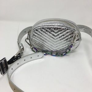 Chevron Silver Quilted Fanny Pack